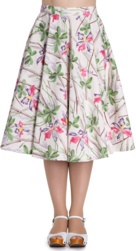 Hell Bunny BAMBOO Vintage Swing SKIRT Tellerrock Creme Rockabilly