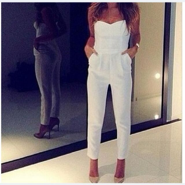 Womens Ladies Celeb White V Neck Playsuit Party Evening Dress Jumpsuit - 8 10 12