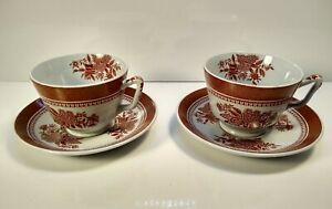 Vintage Spode England Fitzhugh Red Tea cups and Saucers Pair.