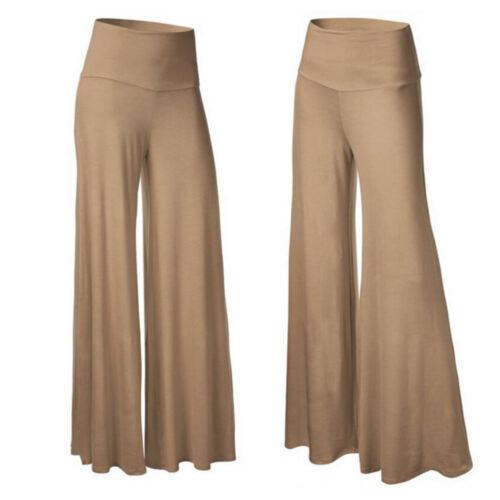 Womens Comfy Yoga Pants Wide Leg High Waist Palazzo Trousers Sports Fitness G750