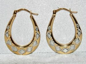 806aa952f55f3 Details about 9CT YELLOW & WHITE GOLD OVAL CREOLE HOOP LADIES EARRINGS - UK  HALLMARKED