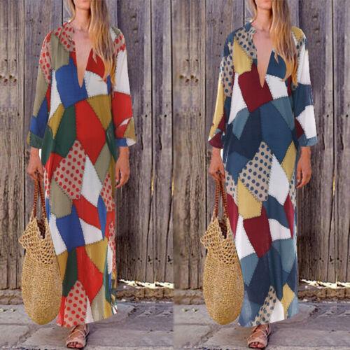 ZANZEA Damen Kleider Ethnic Knielange V-Ausschnit Geometrisch Druckkleid Rock