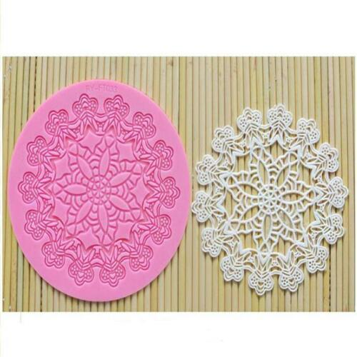 3D Chocolate Mold Flower Lace Pattern Silicone Soap Cake Candy Baking Moulds CF