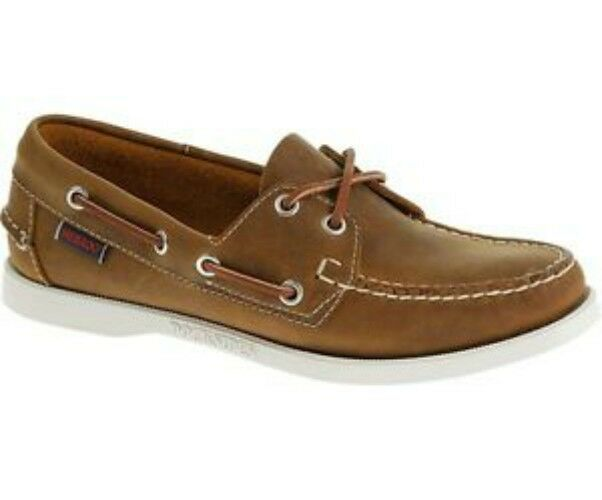 LADIES SEBAGO DOCKSIDES CHOCOLATE LEATHER LACE UP BOAT SHOES