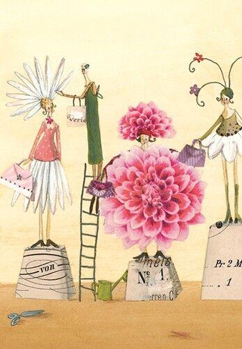 *SILKE LEFFLER*Postkarte*Dahlien/& Blumen*10 x15cm*