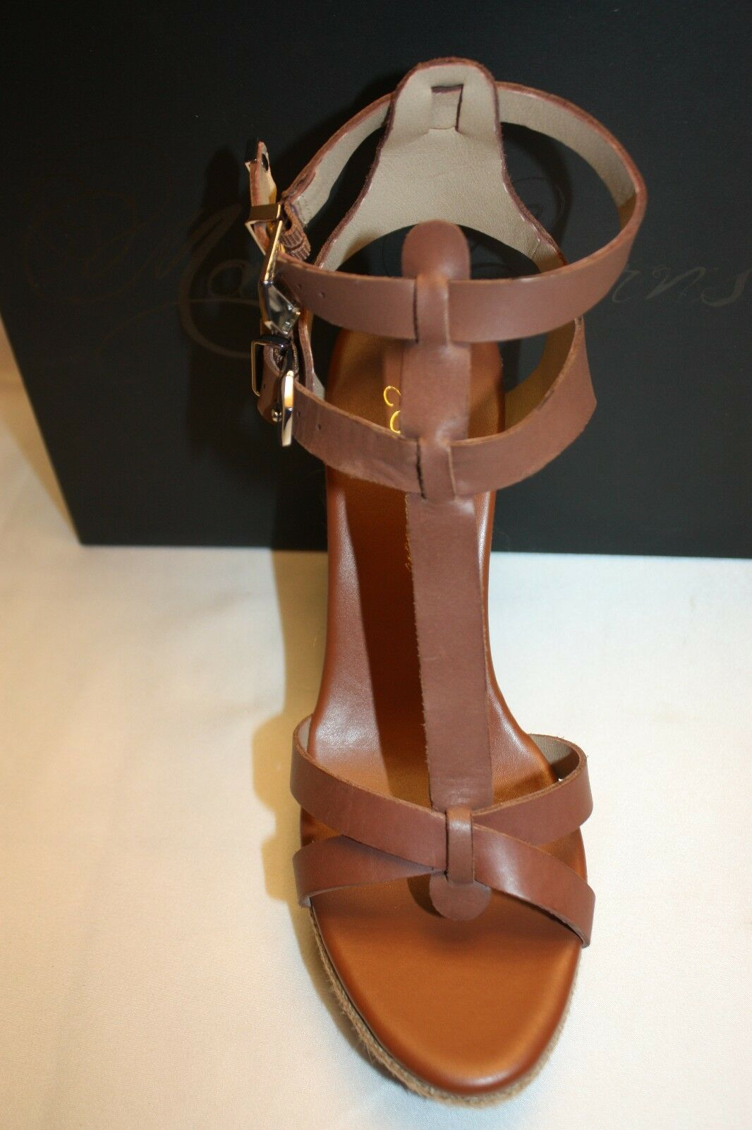 NEW  NIB  MATT MATT MATT BERNSON New York KM WEDGE Cognac Leather Gladiator Sandal 9  187 2adb28