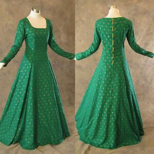 Medieval-Renaissance-Gown-Green-Gold-Dress-Costume-LOTR-Wedding-LARP-Shrek-L