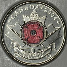 CANADA 25 cents 2004 P Poppy coin in MS