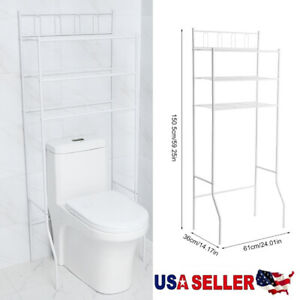 Over The Toilet Rack With 3 Shelf Bathroom Space Saver Towel Storage Organizer