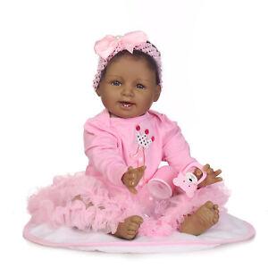 Reborn-Baby-Dolls-Soft-Body-Girl-Black-Skin-African-American-Baby-Newborn-22inch