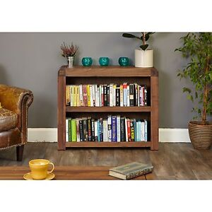 Shiro Dark Wood Solid Walnut Modern Furniture Low Living Room Office Bookcase