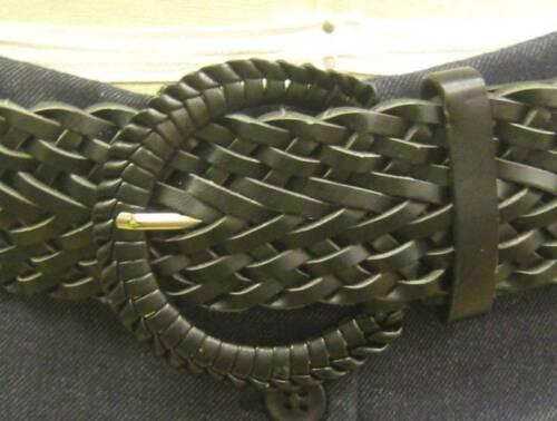 VINTAGE 70s Stile Nero Cintura Larga intrecciate, jeans, gonna, abito 8-16