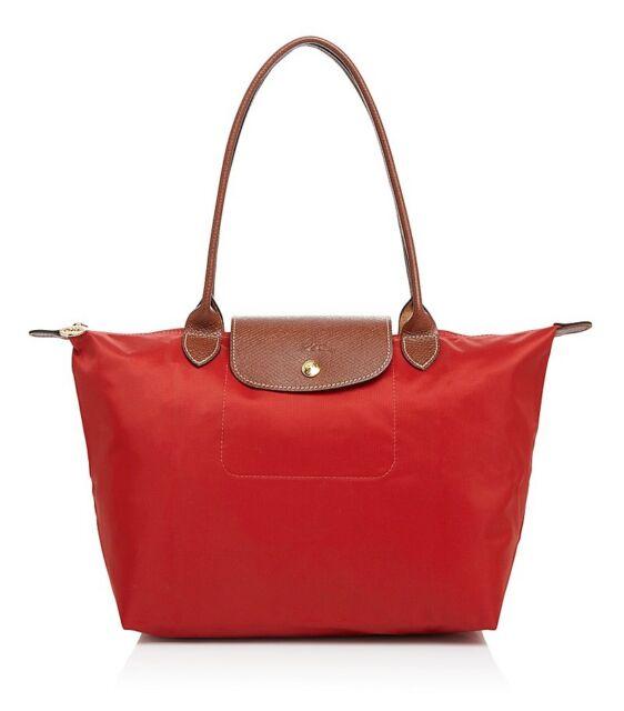 Longchamp Le Pliage Medium Nylon Tote Bag 2605089 Burnt Red Authentic