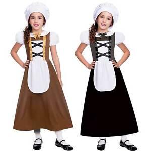 Kids Medieval Tudor Poor Maid Girls School Book Week Fancy Dress Costume Outfit