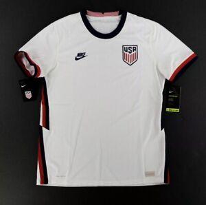 Nike Mens USA VaporKnit Match Home Jersey White Soccer 2020-21 CD0592-100 Size L