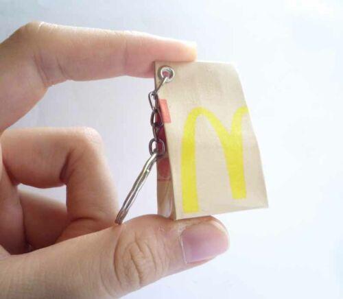 "McDONALDS Logo Take Away Food Bag KEYCHAIN Keyring Novelty Indonesia 3D  2/"" McD"