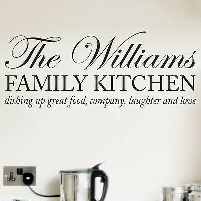 Personalised Family Kitchen Quote Mural Words Home Vinyl Wall Art Sticker Decal