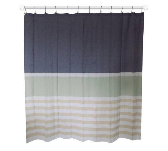 Threshold Textured Stripe Fabric Shower Curtain 72x72 Nwop 2376