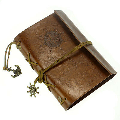 Vintage Leather Cover Notebook Journal Diary Blank String Nautical BW GFY