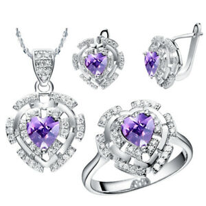 Real-Sterling-Silver-Genuine-Purple-Cubic-Zircone-Earring-Necklace-Ring-Set