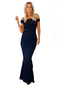 New Elegant Navy Off The Shoulder Promevening Gown Dress Size 16