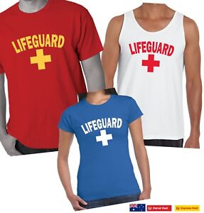 b0fb1a021edc Image is loading Funny-T-Shirts-Lifeguard-fancy-dress-costume-beach-