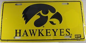 UNIVERSITY IOWA HAWEYES METAL LICENSE PLATE SIGN L530