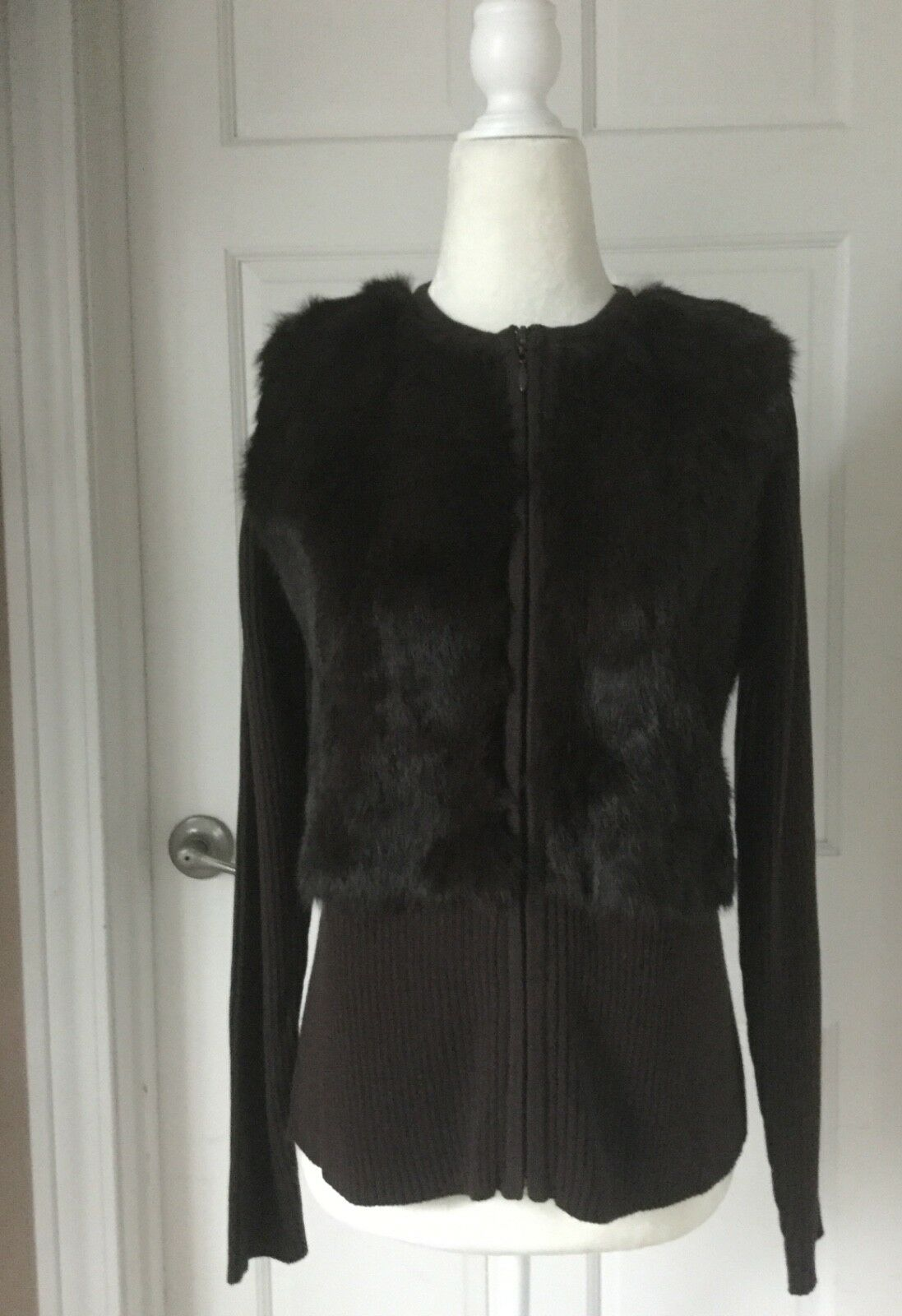 NWOT Beautiful Genuine Rabbit Fur Rib Knit Zipper Zipper Zipper Front Chocolate Brown Sweater 934701