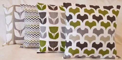 "New Set of 4 x 14"" 16"" 18"" 20"" 22"" Cushion Covers Lime Green Grey Black Handmade"