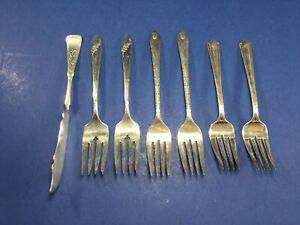 Vintage, 6 teiliges MISC. Gabel Set & 1-Buttermesser, Silber Teller Bestecke