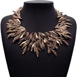 Bronze-Blaetter-Statementkette-Halskette-Kette-Collier-Choker-Glamour-Design-neu