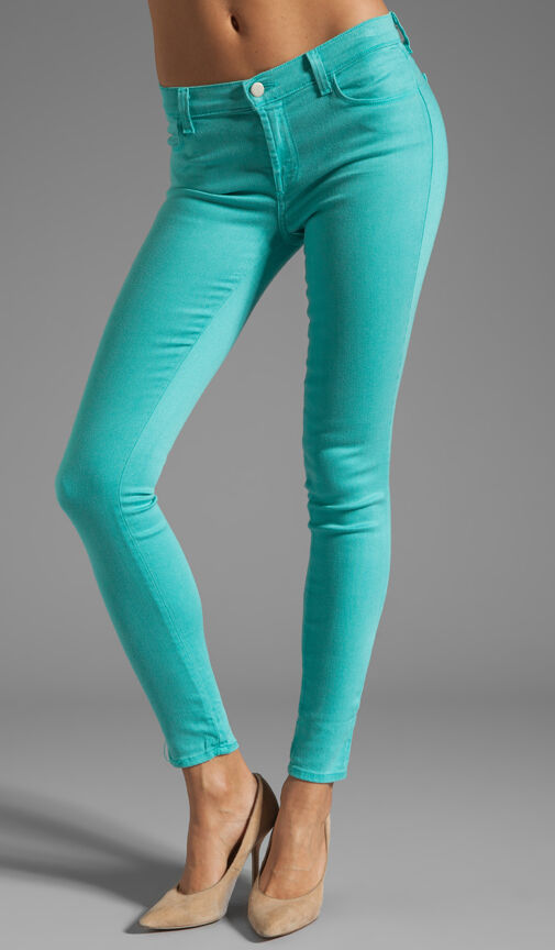 New  Designer J Brand Jeans Womens 30 Aqua bluee Teal Super Skinny Columbia