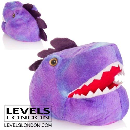 T-rex slippers purple 3d soft novelty kids funny Xmas gift stocking filler 05704