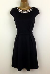 Black-Skater-Dress-UK-Size-10-Jewel-Beaded-Silver-Embellishment-Womens-Party