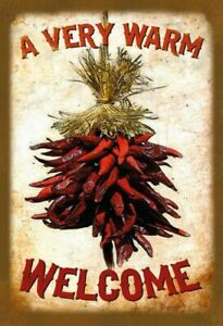 Warm Welcome With Chili Tin Sign Shield Arched Metal 20 X 30 CM