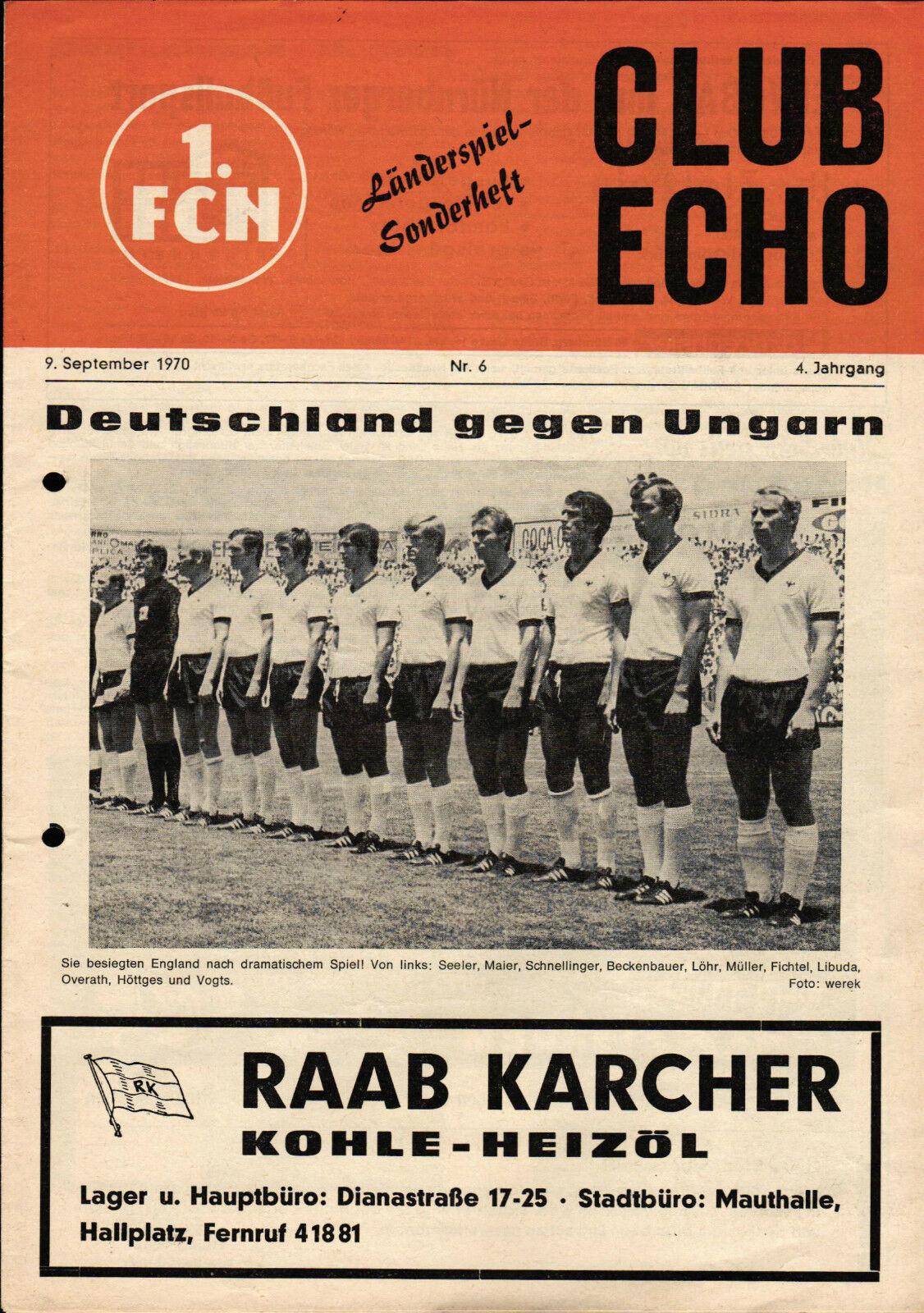 Länderspiel 09.09.1970 Deutschland - Ungarn, CLUB ECHO 1. FC Nürnberg