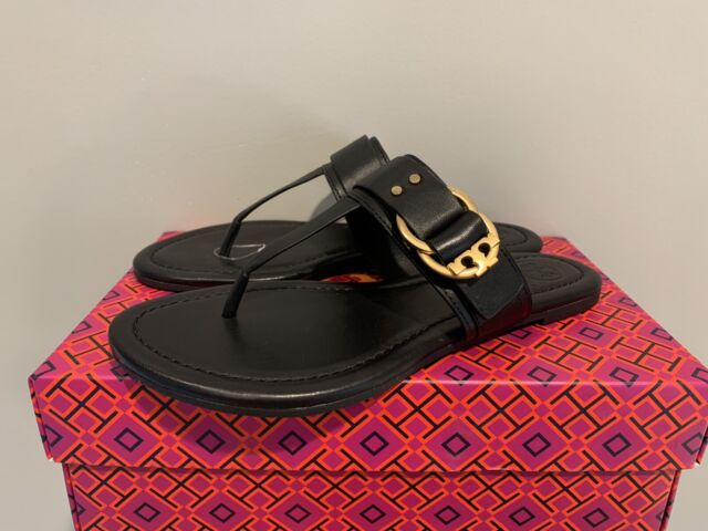 TORY BURCH Marsden Flat Thong Sandal Black Leather Size 6 NWB