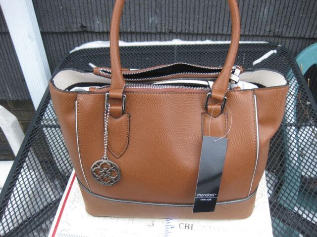 New Mondani Rita Tote Satchel Womens Brown Faux Saffiano Leather Handbag Purse