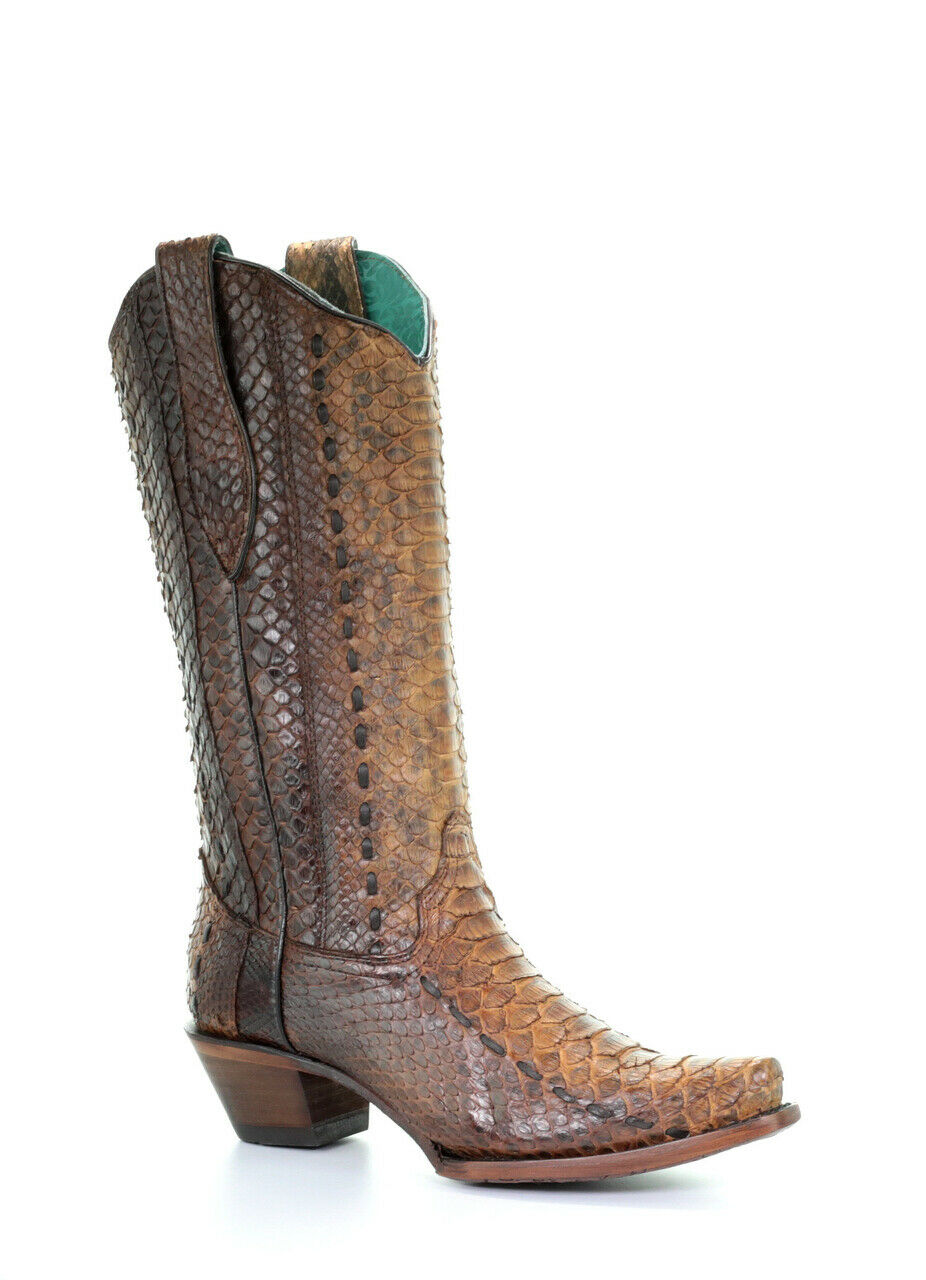 Corral Women's Tan Full Python Woven Western Boots A3659