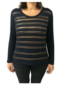 ELENA-MIRO-039-t-shirt-donna-blu-con-paillettes-rame-95-viscosa-5-elastan