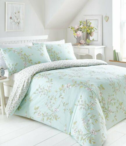 YASMINA DUCKEGG DUVET COVER SET FLORAL PRETTY LEAVES VINE BLUE GREEN OFF WHITE