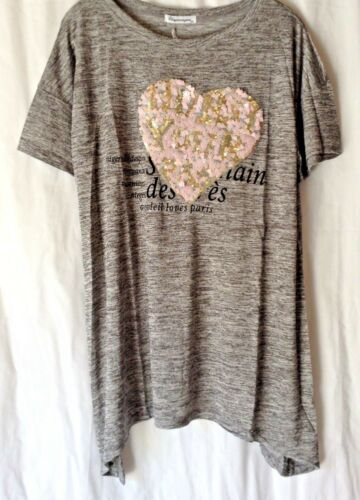 NEW LADIES PLUS SIZE SEQUINNED HEART DETAIL JERSEY LONG TOP TUNIC *4 COLOURS*