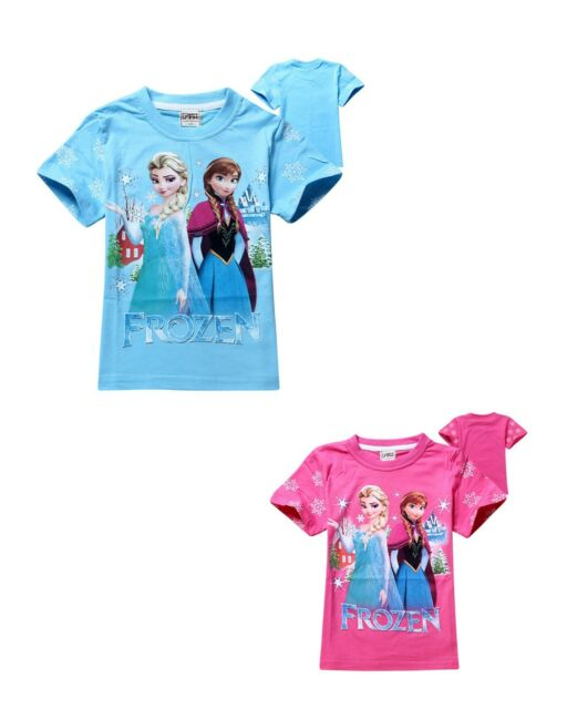 Anna & Elsa stand girl summer short Sleeve T-shirt top2-8Years cotton blend