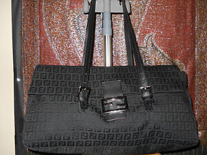 38b5a2b333 Image is loading Fendi-Zucca-Mama-canvas-leather-monogram-flap-over