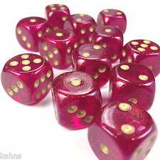 Chessex Dice Block d6 12 pcs 16mm - Borealis Magenta w/ Gold - 27624 FREE BAG