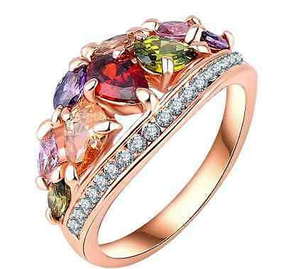 Stylish Multi-colour ring with Austrian Crystals - Triple 18k gold plated