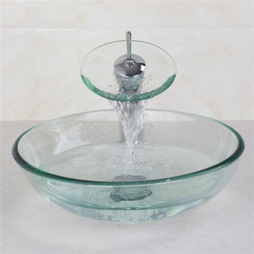 Bathroom Clear Tempered Glass Vessel Basin Sink With Taps Drain Combo Pop-up Set
