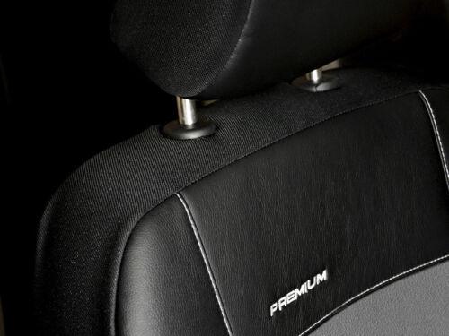 A Set Completo De Cuero Premium Cubiertas de Asiento de Coche Apto Opel Meriva Negro//Gris