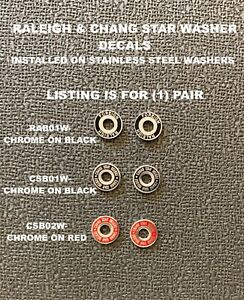 Raleigh Foreign or Chang Star Delux Brake Washers with Decals Choice-1 pair