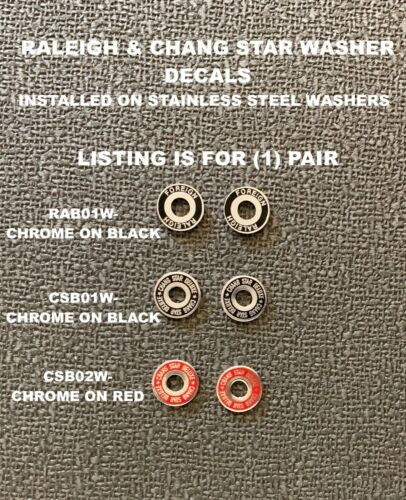 Brake Washers with Decals Choice-1 pair Raleigh Foreign or Chang Star Delux